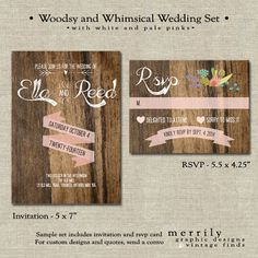 Woodsy and Whimsical, Pale Pink, Wood, Rustic Invitation Sample Set. she like the invite, but not rsvp