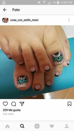 Cute Pedicure Designs, Pedicure Nails, Manicure And Pedicure, Cute Pedicures, Toenails, Sexy Nail Art, Sexy Nails, Toe Nail Art, Nail Art Designs Videos