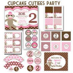 sock monkey printables | Cupcake Cutiees: Sock Monkey Party Printable PACK pink and Brown