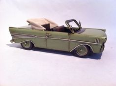 Tin Metal Car - Green 57 Chevy Convertible Car - American Classic Chevrolet Toy…