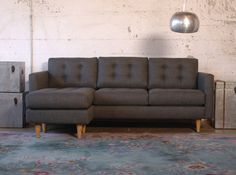 "The Mission Contemporary Modern Living Custom Convertible Chaise Sofa 87"" - Harrington Galleries"