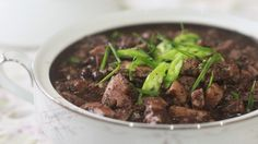 Dinuguan comes from the root word dugo, or blood. This dish is so named because it is a stew made with the blood of a freshly-slaughtered pig. Traditionally cooked using a mixture of pork cheeks, lungs and intestines, this version — made with pork belly, cheeks and liver — should make the not-too-adventurous less squeamish. …