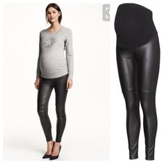 H&M MAMA Faux Leather Maternity Legging Full belly panel. Size M. Brand new with tags. Never worn. 29 in. Inseam. Full Faux Leather in front. Plain Black Legging backside. 100% polyurethane front. Upper belly Panel: 95% cotton 5% elastane. Back: 86% cotton, 12% polyamide 2% elastane. Price firm. Sold out on website. 15% off when bundling 3+ items. H&M Pants Leggings