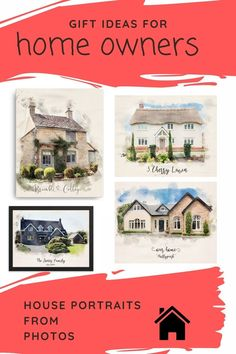Great gift ideas for someone with a new home, moving house, a childhood home or just someone who loves their home! Custom Dog Portraits, Portraits From Photos, Pet Portraits, Animal Paintings, Animal Drawings, Watercolor Effects, Moving House, Pet Memorials