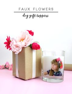 Faux Flowers DIY Gift Toppers - Mother's Day gift wrap idea from MichaelsMakers Lines Across