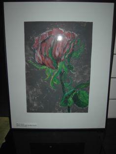 """SOLD !  """"ROSA GRANDE"""" - 50 x 40 cm - zwarte kader - Acrylverf - Eigen werk-Own work !! Made by MIK (miek de keyser - Ranst - Belgium)"""