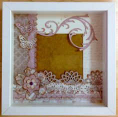 Marco de fotos en 3D - Photo frame by Mariona Handmade #marionahandmade Marco Ikea, Diy Y Manualidades, Paper Roses, Box Frames, Shadow Box, Mini Albums, Picture Frames, Decoupage, Diy And Crafts