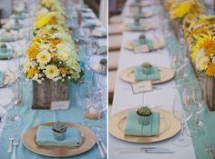 Vintage Weddings | Turquoise + Yellow