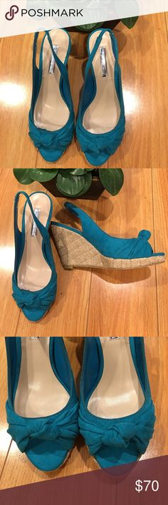 """H by Halston Wedge heels NWOT BRIDGIT Gorgeous, soft, and sleek sling back 4"""" Wedge heels.  Uppers made of soft micro suede. Textured jute heels. Color: turquoise H by Halston Shoes Wedges"""