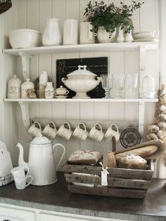 I love this scene...open shelves, coffee cups, white, rustic | http://homedecorationscollections.13faqs.com