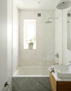 small brooklyn apartment bathroom squaresink subway tiles