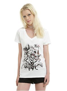 <p>Fitted white V-neck tee from <i>Harry Potter</i> with an illustrated creatures collage design featuring Dobby flanked by an Acromantula, a Basilisk, a Centaur and more!</p>  <ul> <li>100% cotton</li> <li>Wash cold; dry low</li> <li>Imported</li> <li>Listed in junior sizes</li> </ul>