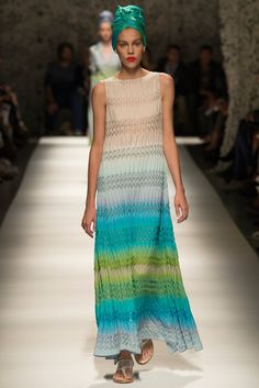 Missoni | Spring 2015 Ready-to-Wear | 17 Multicolour striped knit sleeveless maxi dress