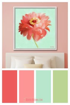 Coral, peach, mint green and spring green color scheme for a colorful cottage, shabby chic bedroom featuring a whimsical zinnia floral canvas painting print over the bed by Beverly Brown. Coral Colour Palette, Color Schemes Colour Palettes, Green Color Schemes, Green Colors, Coral Paint Colors, Spring Color Palette, Interior Color Schemes, Green Bedroom Colors, Peach Bedroom