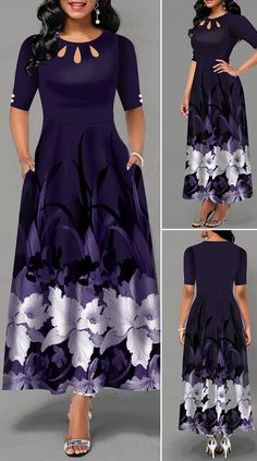 Half Sleeve Flower Print Button Detail Maxi Dress - New Site Long African Dresses, Latest African Fashion Dresses, African Print Fashion, Women's Fashion Dresses, Dress Outfits, Fashion Fashion, Classy Fashion, Work Fashion, Womens Fashion
