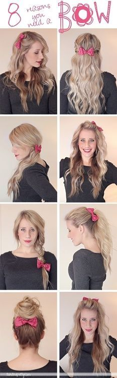 Different ways to wear a hair bow!