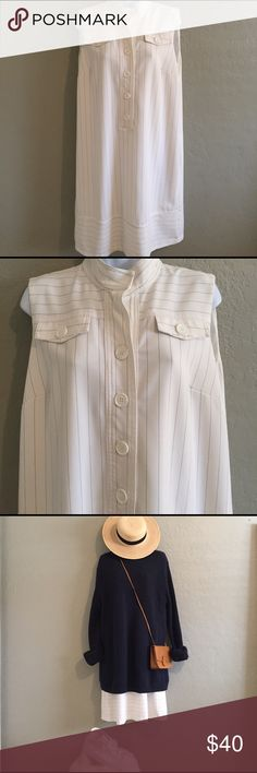 """WD•NY [white pinstriped dress] This casual dress is in very good condition. It is a size 10. No boundaries, with the right vision! Length of dress is 39"""" long from shoulder seam to bottom hemline. Oh this dress also has pockets!                                   Color: white/blue pinstripes Dresses"""