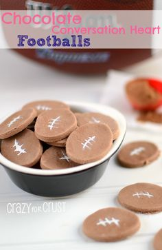 Great Ideas -- 25 Super Bowl Game Day Recipes and Party Ideas -- Tatertots and Jello<br> Candy Recipes, Dessert Recipes, Desserts, White Food Coloring, Chocolate Footballs, Conversation Hearts Candy, Super Bowl Essen, Mini Brownies, Valentine Treats