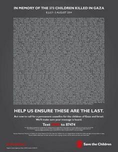3/8/14 The names of 373 Palestinian children killed by Israel in #Gaza appear in UK newspapers. #ICC4Israel #AJAGAZA