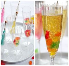 Simple New Year's Eve Mocktails for the Kids New Year's Eve (gummy bears in sparkling cider and champagne for a toast at midnight).New Year's Eve (gummy bears in sparkling cider and champagne for a toast at midnight). New Years Eve Drinks, New Year's Drinks, New Years Eve Dessert, New Year's Eve Cocktails, Kid Drinks, Holiday Drinks, Beverages, Holiday Appetizers, Party Drinks