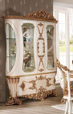 Baroque Furniture, Luxury Dining Room, China Cabinet, Living Room Furniture, Mirror, Elegant, Storage, Buffet, Home Decor