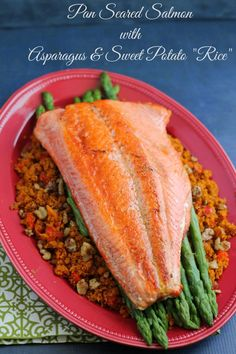 """Pan Seared Salmon with Asparagus & Sweet Potato """"Rice""""- a heart healthy & flavorful dinner recipe"""