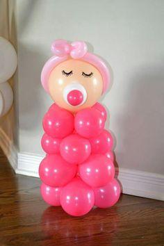 Decoracion de baby shower para niña en globos 1