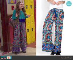 Riley's printed wide leg pants on Girl Meets World.  Outfit Details: http://wornontv.net/49131/ #GirlMeetsWorld