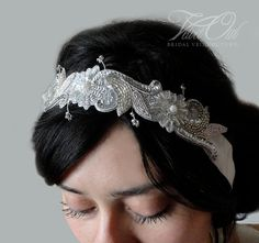 Anna Maria Silver beaded bridal Ivory headband SALE by VelvetOwl, $68.00