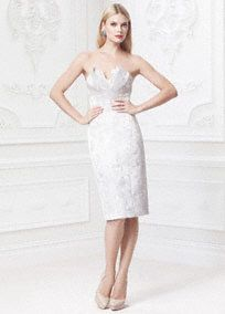 This gracefully designed petal-detailed dress combines femininity and sophistication for a true one-of-kind creation!  Strapless bodice features signature designed petal-detail bodice.  Fitted waist defined by curved seaming creates a stunning and flawless silhouette.  All over floral Jaquard fabric detail adds a delicate and soft touch.  Sizes 0-14. Available in Silver Jacquard.  Fully lined. Center back zip. Imported polyester. Dry clean.
