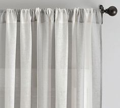 Awning Stripe Sheer Drape #potterybarn - check these out in taupe - could be a soft nice look and the price is great