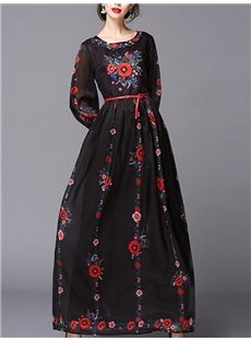 Flower Print Maxi Long Sleeve Dress - By megyn Black Embroidered Belted Maxi Dress Pink Fashion, Boho Fashion, Fashion Dresses, Maxi Dresses, Fashion Women, Rosa Style, Pink Floral Maxi Dress, Bohemian Mode, Maxi Dress With Sleeves