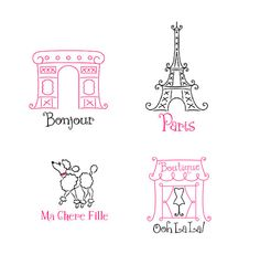 Childrens Vinyl Wall Decal Set of 4 Small French by KidsCorner, $35.50