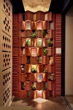 Clay Tiles Reincarnated Designed By Manoj Patel Design Studio - The Architects Diary Brick Architecture, Garden Architecture, Best Interior Design, Interior Decorating, Feature Wall Design, Clay Tiles, Wall Treatments, New Wall, Cool Walls