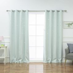 Aurora Home Star Cut Out Room Darkening Curtain Panel Pair (Set of (Mint - 84 Inches - 84 Inches), Green (Polyester, Solid) Green Curtains, Room Darkening Curtains, White Curtains, Colorful Curtains, Blackout Panels, Blackout Drapes, Grommet Curtains, Drapes Curtains, Curtain Panels