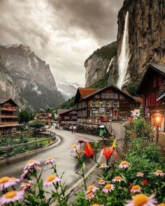 Staubbach Fall at Lauterbrunnen,Switzerland.