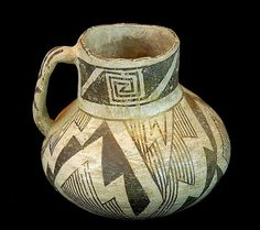 "Black on White Pottery 285. Description: Prehistoric poly chrome black-on-white pitcher. The pitcher measures approximately 5"" tall x 5"" diameter. Some wear and fading, minor chips, no cracks to speak"