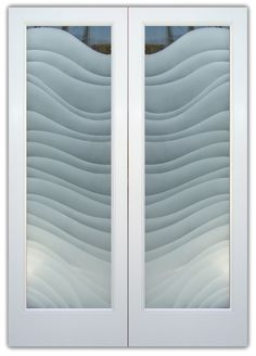 Dreamy Waves Etched Glass Door Modern Style Huge price range - custom etched glass doors, any decor! Asian, Contemporary to Mediterranean & Traditional! Frosted Glass Door, Entry Doors With Glass, Etched Glass Door, Glass Etching, Entry Doors, Door Glass Design, Double Glass Doors, Wood Design, Glass Design