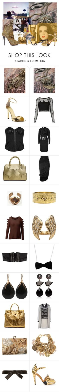 """The Search for Alien Gold"" by aciellelacie ❤ liked on Polyvore featuring All For the Mountain, Tamara Mellon, Topshop, Alexander Wang, Michael Kors, Rebecca Minkoff, Vionnet, John Galliano, Nicholas Kirkwood and Alexander McQueen"