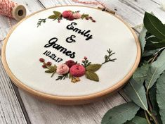 wedding-embroidery-hoop-broderie-embroidery-hoop-art-personalized-gift-hand-embroidery-hoop-art-engagement-gift-custom-names-sign/ - The world's most private search engine Hand Embroidery Patterns Flowers, Wedding Embroidery, Embroidery Letters, Hand Embroidery Designs, Custom Embroidery, Embroidery Kits, Embroidery Stitches, Floral Embroidery, Art Textile
