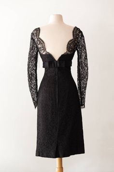 Exquisite Hand Made Vintage 1950s Black Lace Cocktail Dress w/