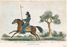 Californio lancer on horseback, c. 1846-48, Myers, artist, sketch, Colleciton of Oakland Museum of California
