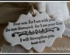 Fear Not.Isaiah Polymer Clay Gift by PrettyPolyClay Scripture Crafts, Be Not Dismayed, Isaiah 41 10, Clay Creations, Gift Tags, Polymer Clay, Ornaments, Handmade Gifts, Care Packages