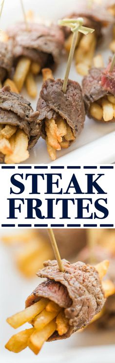 Steak Frites made with beef skirt steak slice thing - perfect little bites recipe that is an appetizer sized or dinners tapas plates menu #sundaysupper #flbeefimmersion @flbeefcouncil