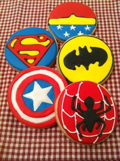 Gluten, dairy, and nut free Super Hero custom decorated cookies on Etsy, $27.00 CAD