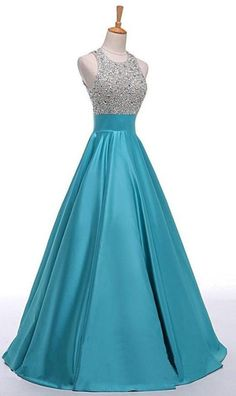 Blue Prom Dresses, Long Prom Dresses, Light Blue Prom Dresses, Backless Prom Dresses, Classy Prom Dresses, Prom Long Dresses, Long Blue Prom Dresses, Prom Dresses Long, Prom Dresses Blue, Light Blue dresses, Light Blue Backless Beaded Long A-line Satin Classy Prom Dresses