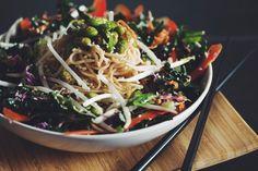 asian noodle salad with edamame & sweet ginger dressing   RECIPE on hotforfoodblog.com