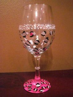 Bachelorette Party Wine Glass / Girls Night Out / Leopard print hand-painted