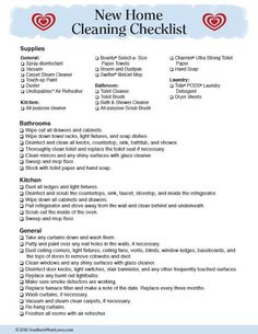 Southern Mom Loves: Tips to Get Your New Home Clean Before You Move In + a Print. : Southern Mom Loves: Tips to Get Your New Home Clean Before You Move In + a Printable Checklist! New Home Checklist, House Cleaning Checklist, Move In Cleaning, Cleaning Tips, Move In Checklist Apartment, Moving Checklist Printable, Checklist Template, Cleaning Products, Moving Day
