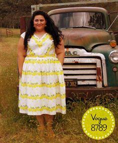 Vogue 8789 vintage 1957 reproduction in lemon striped cotton fabric that I designed.